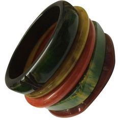 Vintage Bakelite Bangle Bracelets - Set of 5 (1,160 BAM) ❤ liked on Polyvore featuring jewelry, bracelets, accessories, vintage red jewelry, vintage jewellery, vintage bangle, vintage bracelet e bracelet jewelry