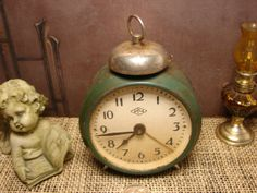 Rare Vintage Antique Soviet Alarm Clock from after WW2  ICH  mechanical CLOCK  working / Clock Home decor 1940s Soviet Alarm Timepiece
