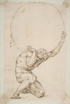 Baldassare Tommaso Peruzzi (1481-1536), Crouching Figure of Atlas; Pen and brown ink | Metropolitan Museum of Art