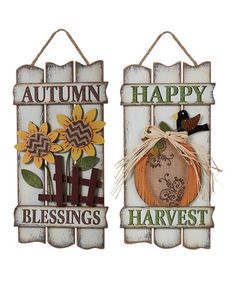 Look what I found on #zulily! Autumn Fence Wall Art - Set of Two #zulilyfinds