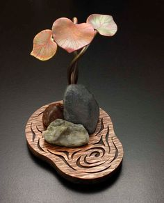 Leaves stones and water a copper desk ornament by KAZNESQ on Etsy