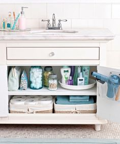 With its jumble of makeup, medicines, towels, and more, your bathroom hardly inspires a relaxing get-ready routine. To streamline supplies, start with a deep clean: Shed expired and unused items as well as bulky packaging (instead, store products in easy-in-and-out jars, bags, and baskets). Leave everyday essentials — hand soap, toothbrushes — on the counter. Outfit cabinets with handy holders: a back-of-the-door rack for hair tools and a lazy Susan to bring bottles to the front.