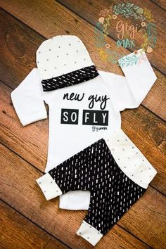 New Guy So Fly Chalk and X's Theme Newborn Outfit