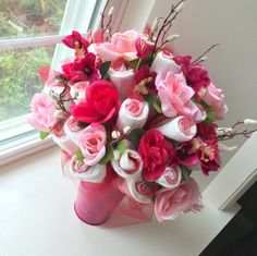 1000 ideas about diaper flower bouquets on pinterest for Pink diaper bouquet
