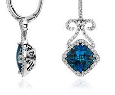 London Blue Topaz and Diamond Scroll Earrings #BlueNile