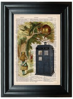 Alice in Wonderland and Doctor Who Tardis dictionary art print vintage poster, Dr who wall art, Cheshire Cat
