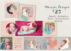 Newborn Girl Sweet Bohemian Mini Accordian Album Template, cute newborn mini album, pretty bohemian newborn