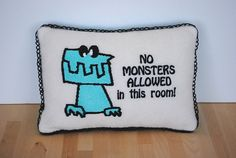 No Monsters Allowed Pillow to keep monsters away by Cuddle Wumkins