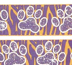 """Amazon.com: Custom & Fancy {0.9"""" Inch Width - 5 YDS} 1 Pack of """"Grosgrain"""" Ribbon for Hairbows, Decorations & Gift Wrap Made of Polyester w/ Team Spirit Sparkly Paw Print Style [Purple, Orange & White]"""