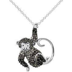 Crystal Sterling Silver Monkey Pendant Necklace ($53) ❤ liked on Polyvore featuring jewelry, necklaces, silvertone, sterling silver necklace pendant, charm pendant necklace, sterling silver crystal pendant, pendant necklace and chain necklaces