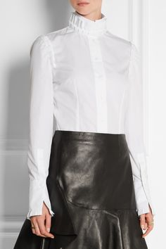 Alexander McQueen|Pleated cotton-poplin shirt|NET-A-PORTER.COM