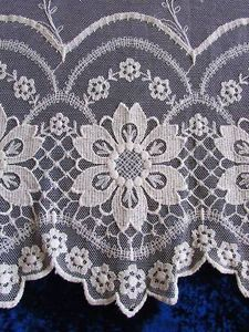Massive French Needle Run Net Lace Curtain 93x97 034 French Chateau | Vintageblessings