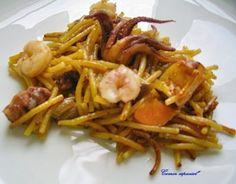 Fideuá de gambas y calamares ~ Comer especial