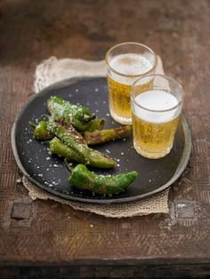 Roasted Pedron sea salted chilies with beer