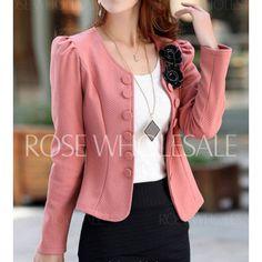 Stylish Women's Scoop Neck Long Sleeve Applique Single-Breasted Blazer