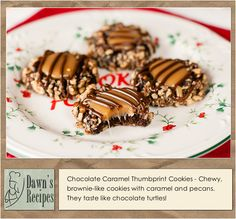 Chocolate Caramel Thumbprint Cookies - Chewy, brownie-like cookies with caramel and pecans. They taste like chocolate turtles! @dawnsrecipes