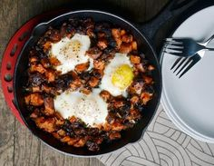Sweet Potato Hash with Sausage & Eggs | Sub coconut oil for the butter and leave out the cheese