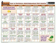Mediterranean Diet - Monthly Calendar http://www.foodpyramid.com/food-pyramids/mediterranean-diet-pyramid/ #mediterraneandiet #mediterraneanfood #mediterraneanfoods
