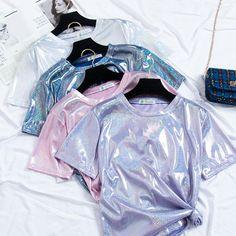 O Neck Satin Light Glossy Short Sleeve Tshirt Girls Fashion Clothes, Teen Fashion Outfits, Trendy Outfits, Girl Fashion, Girl Outfits, Holographic Fashion, Mode Kawaii, Unicorn Fashion, Vetement Fashion