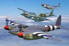 Formation of De Havilland Mosquitoes. Ww2 Aircraft, Fighter Aircraft, Military Aircraft, Fighter Jets, Ala Delta, De Havilland Mosquito, Supermarine Spitfire, Ww2 Planes, Vintage Airplanes