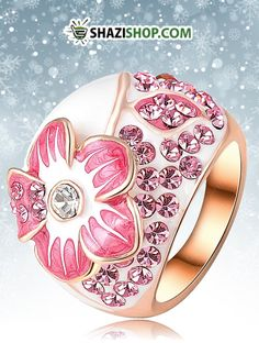 Only $3.53 for Pink Enamel Flower Rings Fashion Real 18K Rose Gold Plated Ring Micro Pave Genuine SWA Elements Austrian Crystal Ri-HQ0015-b. https://www.shazishop.com/collections/rings/products/pink-enamel-flower-rings-fashion-real-18k-rose-gold-plated-ring-micro-pave-genuine-swa-elements-austrian-crystal-ri-hq0015-b