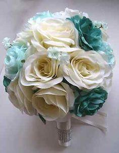 17pcs Wedding Bouquet Bridal Silk flowers TEAL MINT CREAM decoration centerpiece