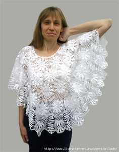 Discover thousands of images about Poncho forma abanico noches de verano - Patrones Crochet Poncho Crochet, Crochet Blouse, Cotton Crochet, Irish Crochet, Crochet Lace, Crochet Gratis, Crochet Tops, Diy Crafts Crochet, Crochet Wedding