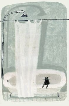 Cat illustration of a black cat haning in the batch tub. Art And Illustration, Illustration Inspiration, Gravure Illustration, Cat Illustrations, Guache, Art Design, Crazy Cats, Graphic, Art Inspo