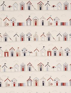 Beach Huts curtain fabric in blue is a charming fabric featuring beach huts, parasols, bunting in the design. Nautical fabrics available at Terrys Fabrics today Red Beach, Beach Art, Hut House, House Wall, Conversational Prints, House Quilts, Blue Curtains, White Clouds, Scrappy Quilts