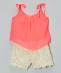 Limited Too Neon Coral & White Lace Layered Romper - Toddler & Girls