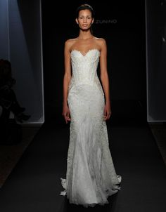 Mark Zunino Fall 2016 floral applique chantilly lace over crepe with nude illusion back and side panels wedding dress