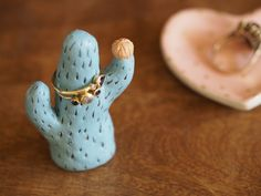 Cactus ring holder - an original pastel color clay cactus plant ring holder hand made with air dry clay and hand painted with acrylics. As a result