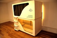This is a really cool bunk bed equipped with it's own privacy. Great for light sleepers and children, saves space too. The company is called podtime. Metal Bunk Beds, Cool Bunk Beds, Nap Pod, Enclosed Bed, Bunker Bed, Pod Bed, Sleep Box, Attic Bed, Sleeping Pods