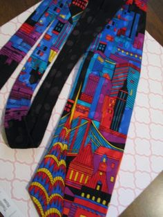 Futuristic Silk Tie by Addiction / Art Deco Motif Cityscape Skyscraper Buildings #Addiction #NeckTie