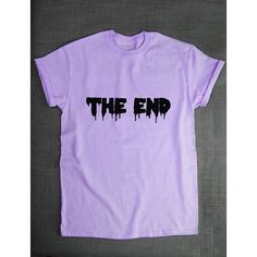 Pastel Goth T-Shirt the End Pastel Goth Clothing T Shirt Green Purple... ($20) ❤ liked on Polyvore featuring tops, t-shirts, shirts, pastel goth, purple, women's clothing, pink shirt, goth t shirts, print shirts and purple t shirt