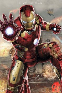 Iron Man cool art, just before he fires a beam from his hand