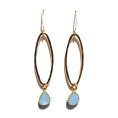 Blue Chalcedony and Vermeil Loop Earrings | Available only at Peyton William. www.peytonwilliam.com