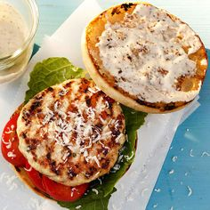 Chicken Caesar Burger - try ground chicken or turkey instead of food processor and skip cheese and buns.
