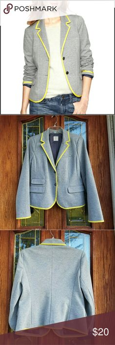 GAP Academy Blazer Sz 8 GAP grey and yellow piped Academy Blazer. Size 8, see measurements. Fully lined. Freshly dry cleaned. GAP Jackets & Coats Blazers
