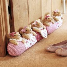 Draft Stopper - So Cute - Could crochet the bears and sew the dresses...