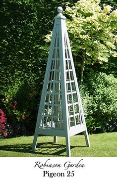 Robinson Garden - Bespoke Garden Products Selling a wide range of products including Birdtables, Dovecotes and Dog Kennels. Pictured is one of our bespoke wooden obelisks handmade and painted with the famous Farrow & Ball Colours. Visit our website for more details www.robinsongarden.co.uk