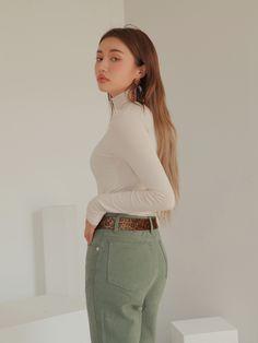 Straight Leg High-Rise Pants | STYLENANDA Fashion Poses, Fashion Outfits, Asian Style, Korean Style, Korean Fashion Trends, White Casual, Stylenanda, Korean Outfits, Ulzzang Girl