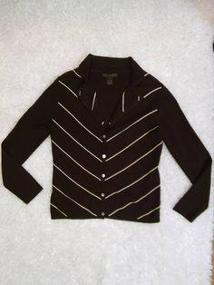LINDA MATTHEWS Brown/White Striped  Mother of Pearl Button Knit Shirt Size M #LindaMatthews #ButtonDownShirt #Casual