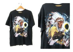 Vintage Native American Tshirt noir aigle par dirtybirdiesvintage