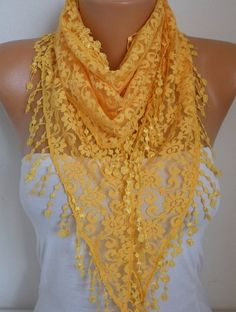 Yellow Lace Scarf #Fall #Scarf #Shawl #Cowl #Scarves by anils