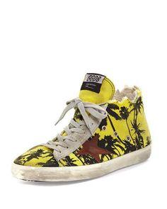 GOLDEN GOOSE FRANCY MEN'S PALM-PRINT HIGH-TOP SNEAKER. #goldengoose #shoes #