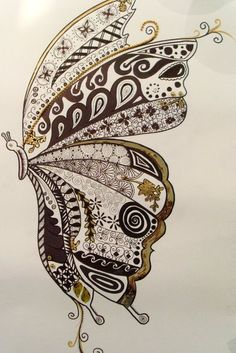 Whimsical Butterfly Zendoodle.