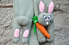 Children's fleece scarf with rabbit and carrot by NukeMapu on Etsy