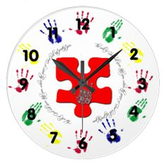"The Will of God  Autism Awareness This beautiful clock is perfect to remind us each day! Under each number is a handprint in the Autism awareness colors, while in the center is a large red puzzle piece adorned with a silver handprint that is made up of handprints with the words wrapping around it that say ""The will of God will never take you, where the grace of God will not protect you"". Perfect gift for Moms, grandmothers, sisters, aunts, special education teachers, therapists and more!"