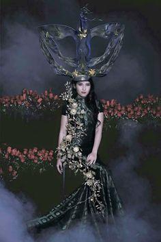 "Bremen W millinery for Miss World malaysia 2015 , Brynn Lovett ,National costume "" Wau bulan Sculpture Hat "" . Fashion designer by Jovian Mandagie"